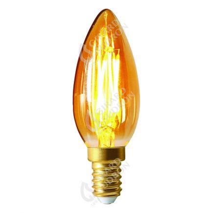 Flamme Lisse C35 Filament LED 5W E14 2200K 420lm Dim. Ambre
