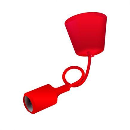 Suspension E27 et pavillon silicone rouge + câble silicone rouge L. 0,80 m