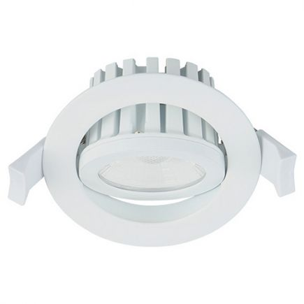 Cavell - Tiltable recessed LED Downlight IP 65 Ø86 x 75 cuthole Ø75 10W 3000K 850lm 45° white