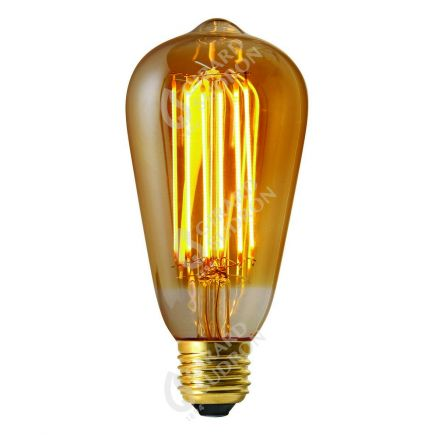 Edison Filament LED 6W E27 2100K 390Lm Dim. Amb RA>90