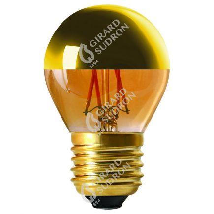 """Sphérique G45 Filament LED """"Calotte Dorée"""" 4W E27 2700K 350Lm Dim."""