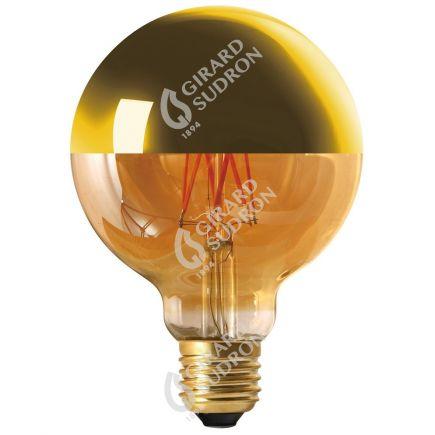 "Globe D95 Filament LED ""Calotte Dorée"" 8W E27 2700K 950Lm Dim."