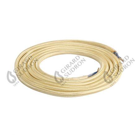 Câble textile rond double isolation 2 x 0,75 mm2 or L. 2 m ø 6 mm