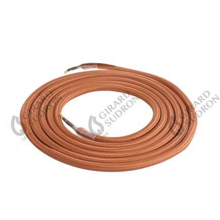 Câble textile rond double isolation 2 x 0,75 mm2 marron L. 2 m ø 6 mm