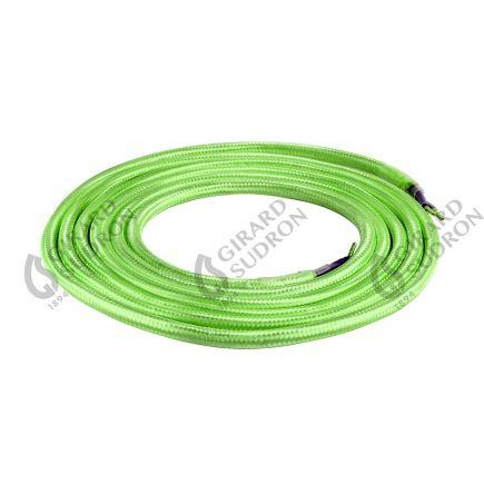 Câble textile rond double isolation 2 x 0,75 mm2 vert L. 2 m ø 6 mm