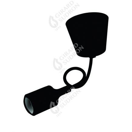 Suspension E27 et pavillon silicone noir + câble silicone noir L. 0,80 m