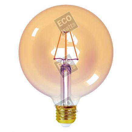 Ecowatts - Globe G125 Filament LED 4W E27 2200K 360Lm Amb.