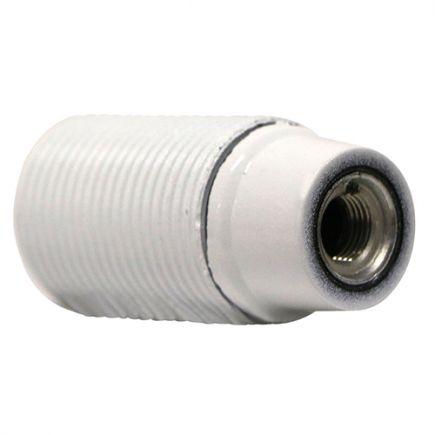 Douille montée E14 Ø28mm chemise filetée culot court blanc vernissé