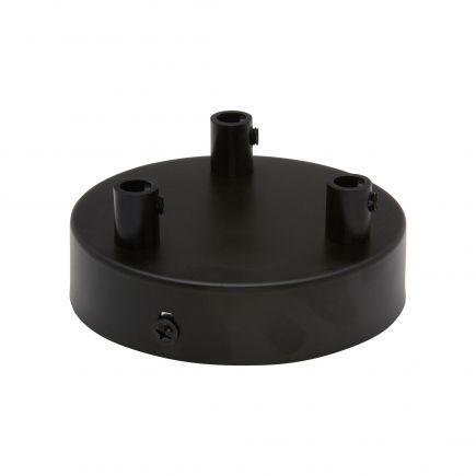 Rosace acier ø 100 mm 3 sorties noir + serres-câbles ø 6mm