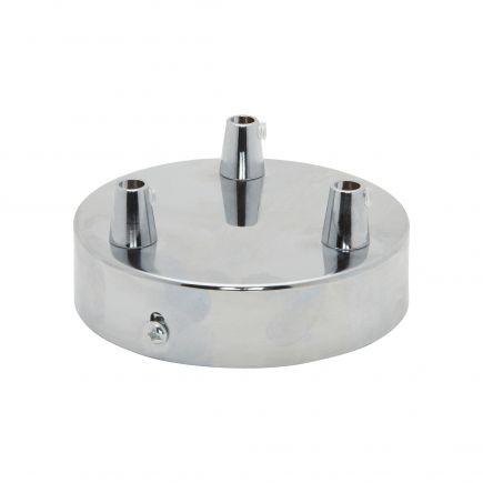 Rosace acier ø 100 mm 3 sorties chrome + serres-câbles ø 6mm