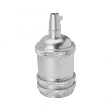 Douille aluminium E27 filetée avec bague argent