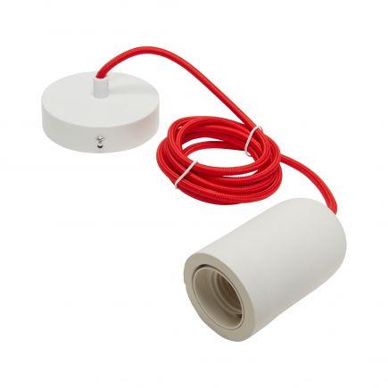 Suspension E27 béton blanc + câble textile rouge L. 2 m + pavillon acier blanc