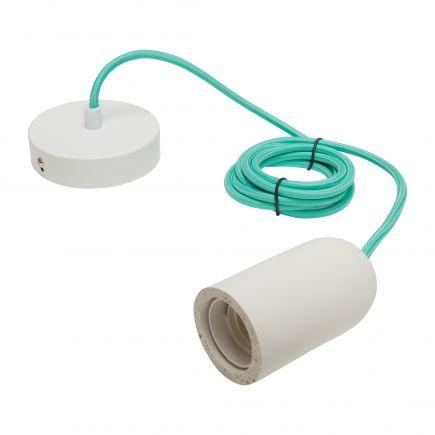 Suspension E27 béton blanc + câble textile jade L. 2 m + pavillon acier blanc