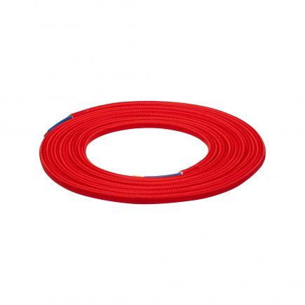 Câble textile rond double isolation 2 x 0,75 mm2 rouge L. 2 m ø 6 mm