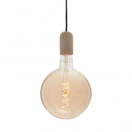 Pack Suspension Béton Gris+Câble 2M Text.+Pavillon Acier Noir 187557 + Big bulb LED Filament Spiral Globe G200 6W Amb.Dim 716627
