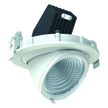 Simba - Spot encastré orientable LED Ø136x100 enc.Ø125 20W 4000K 1204lm 36° blanc