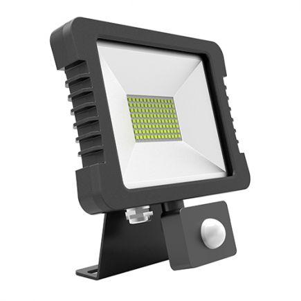 Yonna - Projecteur LED IP 65 250x268x51 50W 3000K 3600lm 110° noir PIR