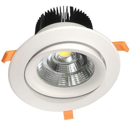 Cavell - Spot encastré inclinable LED Ø195x129 enc.Ø158 50W 3000K 4250lm 45° blanc
